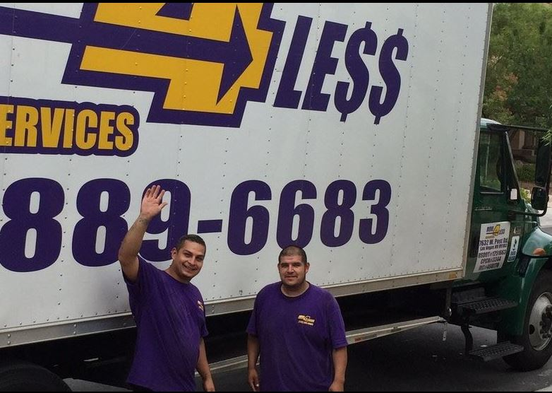 Two move 4 less movers in front of their moving van smiling and waving