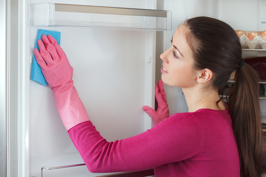 Happy european woman cleaning refrigerator. Refrigerator cleaning. Young woman cleaning refrigerator with sponge at home