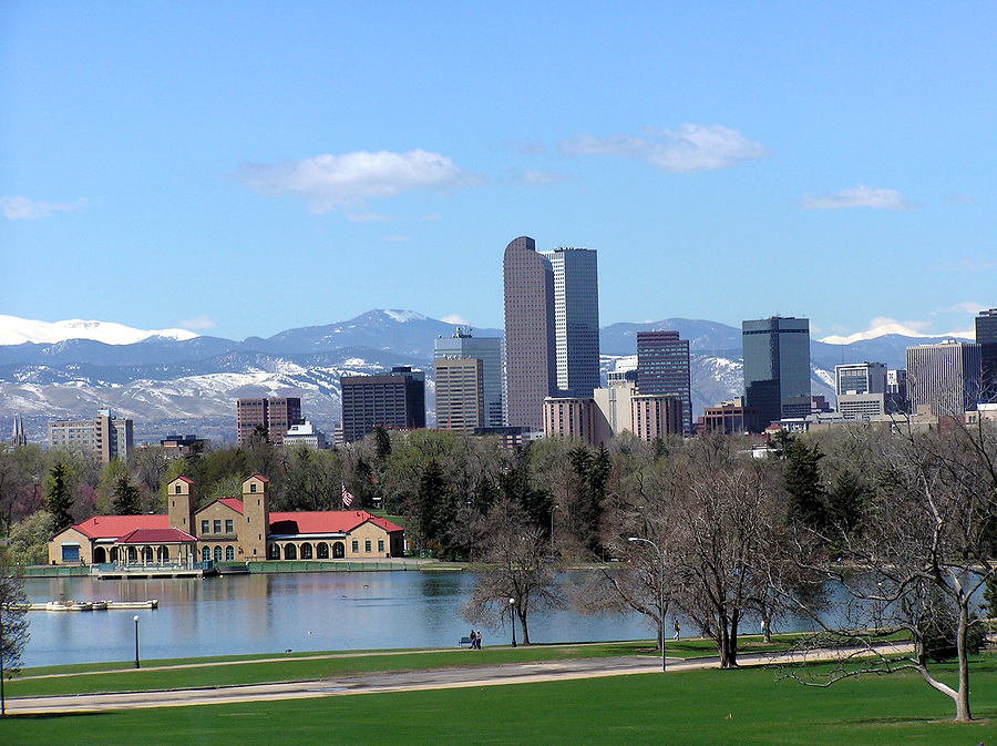 Denver, CO skyline and foothills