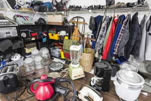Interior garage sale, housewares, clothing, sporting goods and t