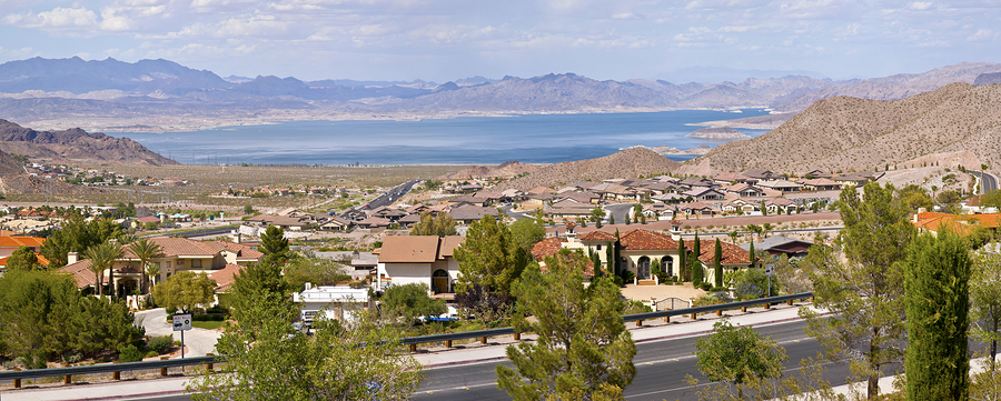 Boulder City Nevada neighborhood and Lake Mead