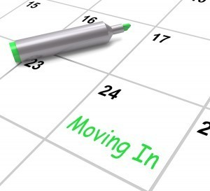 Calendar showing new home moving date