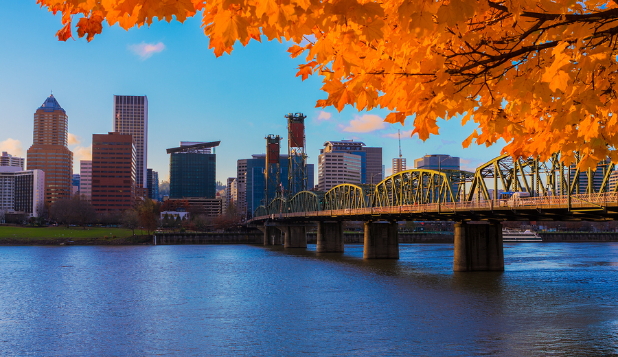 View of downtown Portland, OR from the Willamette River