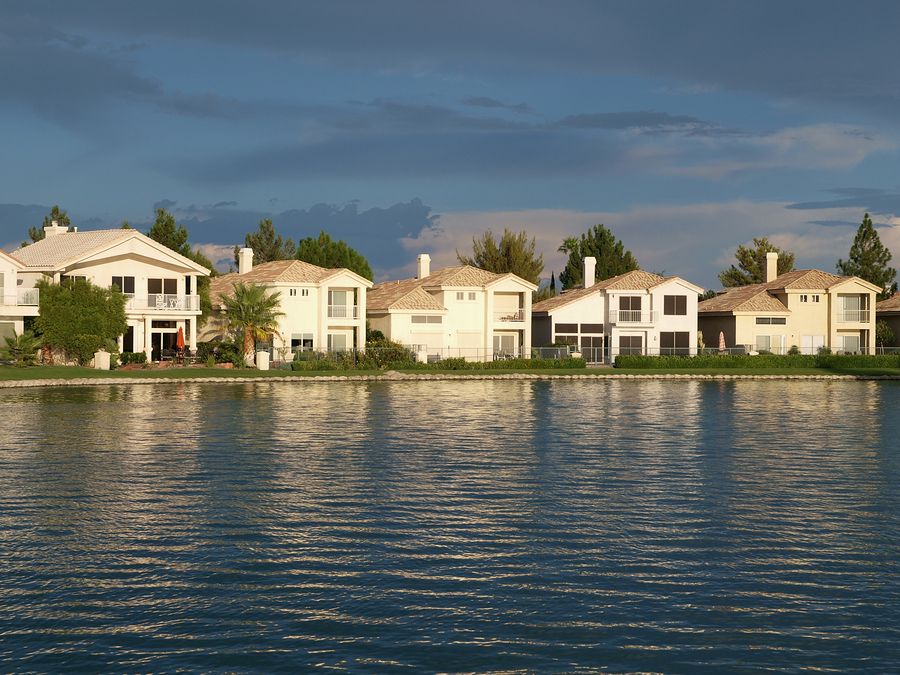 Lake front homes at sunset in Las Vegas Nevada.