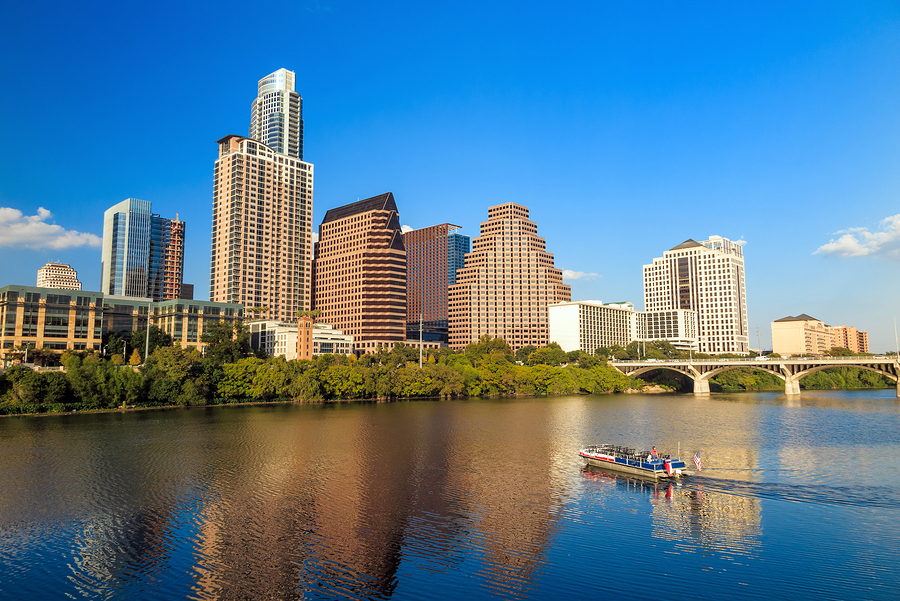 view of Austin Texas downtown skyline with blue sky