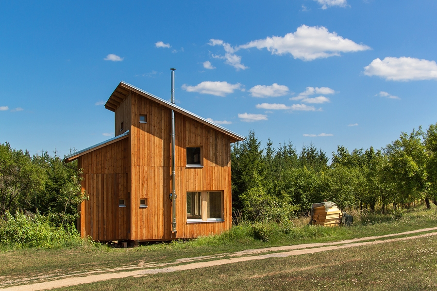 Eco-friendly wood tiny house at the woods. Energy saving