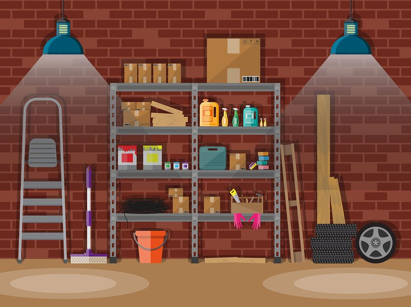 storeroom with non-transportable items such as paints, oil and cleaning supplies