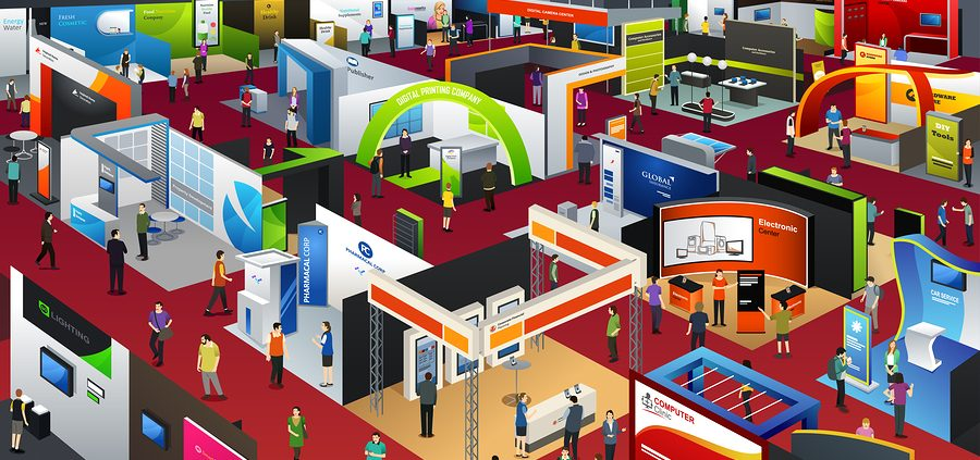 People on trade show floor walking among trade show booths and convention displays